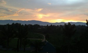 Hotel's view of the sunset on the Rwenzori Peaks